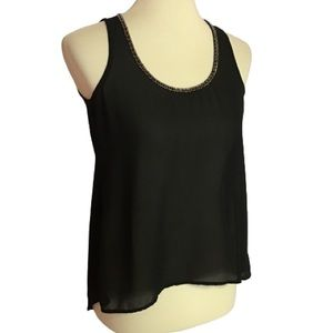 Gothic black beaded sexy night out tank top